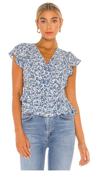 1. STATE flutter sleeve button front blouse in blue floral