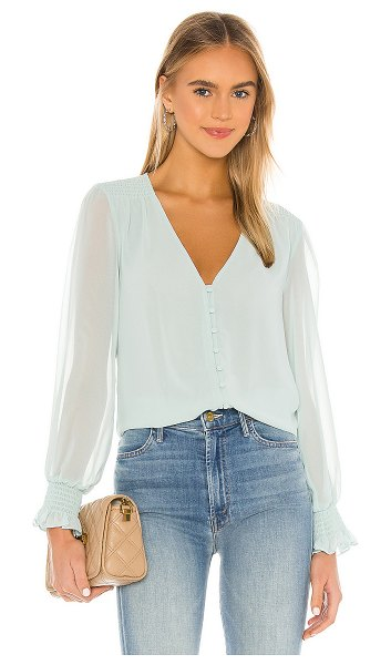 1. STATE smocked detail button blouse in pistachio