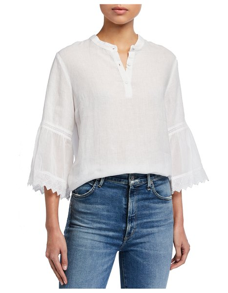 120 Lino Button-Placket 3/4 Pleated Ruffle Sleeve Blouse in white