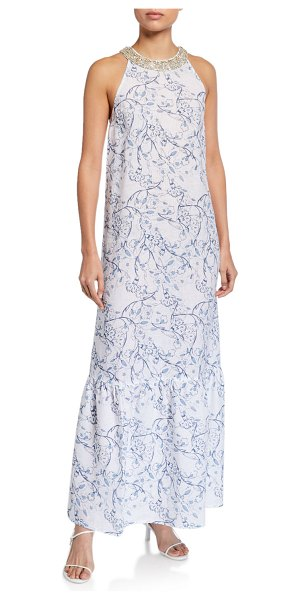 120 Lino Floral Print Embellished Halter-Neck Maxi Dress in white