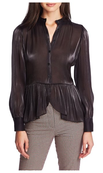 1.State button up peplum top in rich black