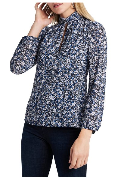 1.State chateau floral blouse in blue/ pink iris multi