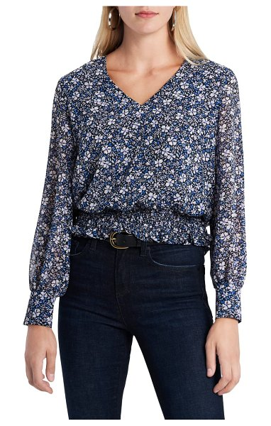 1.State chateau floral long sleeve top in blue/ pink iris multi