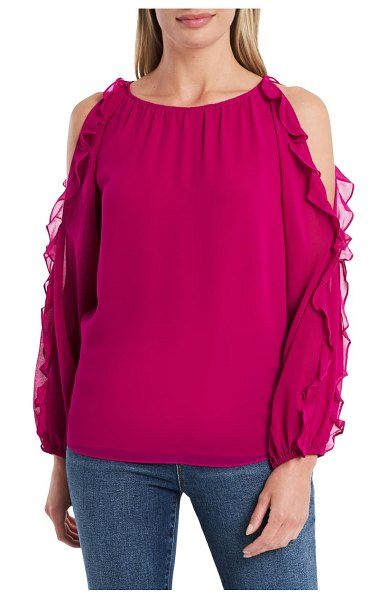 1.State cold shoulder ruffle sleeve blouse in wild fuchsia