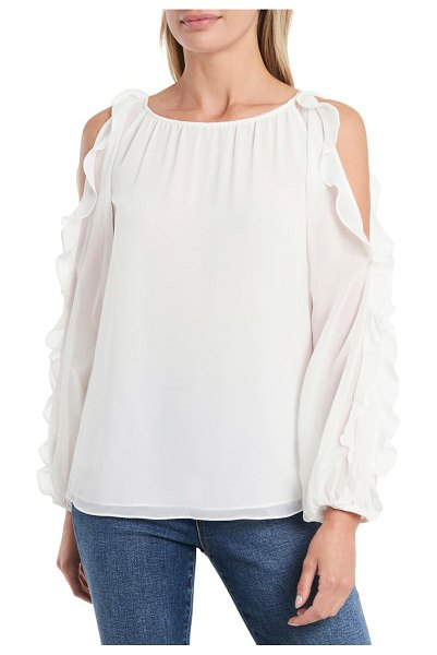 1.State cold shoulder ruffle sleeve blouse in soft ecru
