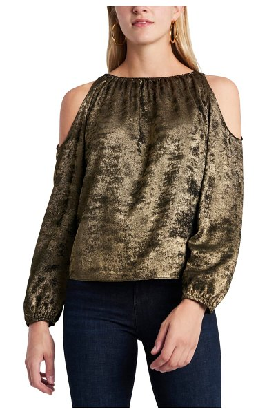 1.State cold shoulder top in emblem gold