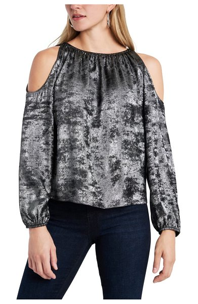 1.State cold shoulder top in silver dust