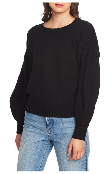 1.State crewneck blouson sleeve cotton blend sweater in mahogany