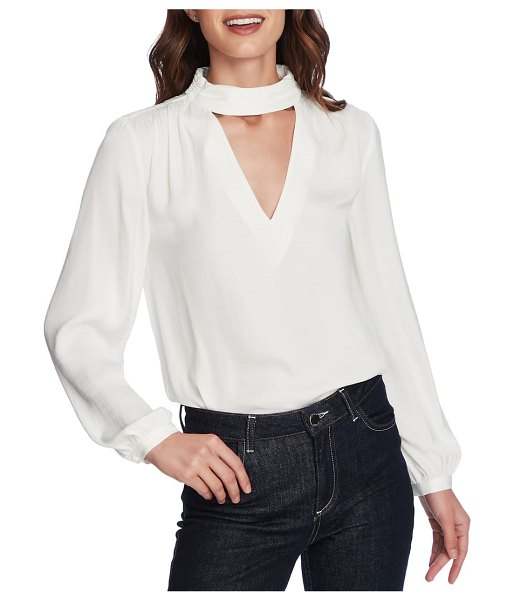 1.State mock v-neck blouse in soft ecru