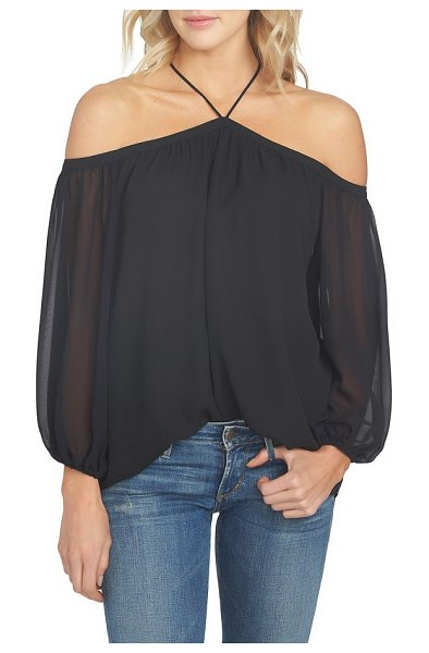 1.State off the shoulder sheer chiffon blouse in rich black