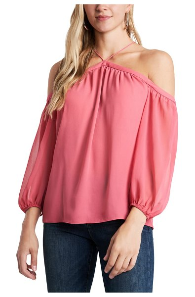 1.State off the shoulder sheer chiffon blouse in cherry blossom