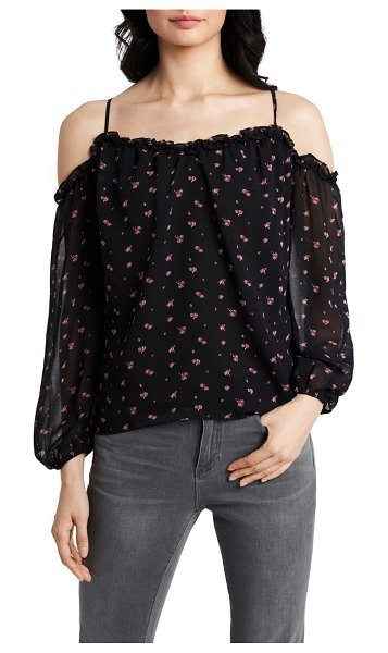 1.State poetic rosettes cold shoulder blouse in rich black