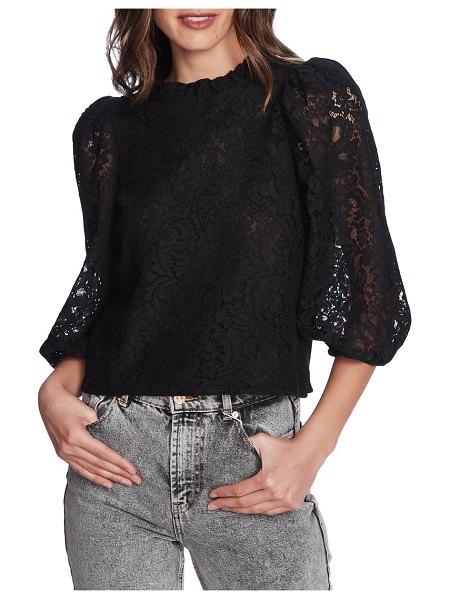 1.State puff sleeve lace top in rich black