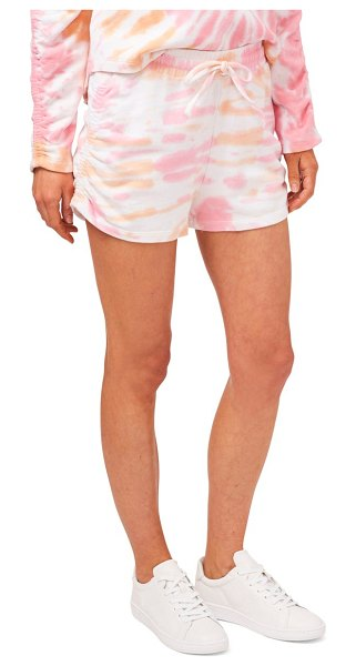 1.State ruched side pull-on shorts in sunburst dye coral