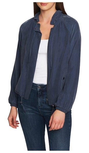 1.State ruffle neck bomber jacket in midnight sky