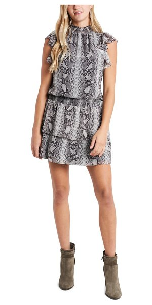1.State snakeskin print tiered chiffon dress in rich black combo