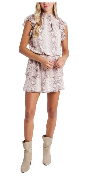 1.State snakeskin print tiered chiffon dress in ballet dust combo