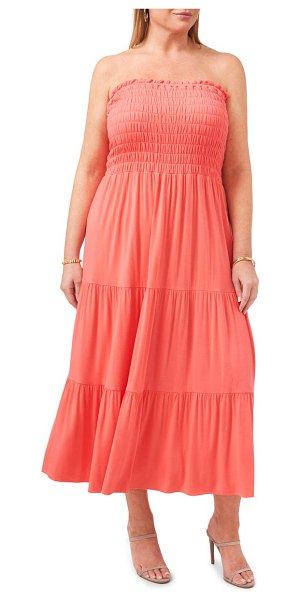 1.State strapless jersey maxi dress in cameo coral