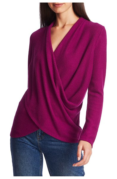 1.State waffle knit cross front top in crushed berry