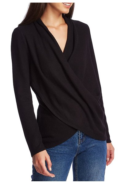 1.State waffle knit cross front top in rich black