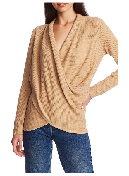 1.State waffle knit cross front top in wild oak