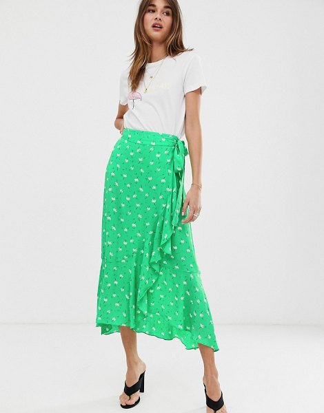 2nd Day 2ndday limelight anemone floral print ruffle wrap midi skirt-green in green