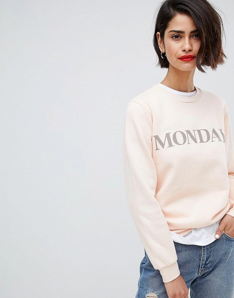 2ND DAY 2NDDAY monday sweatshirt in pale - Sweatshirt by 2nd Day, Crew neck, 'Monday' text to...