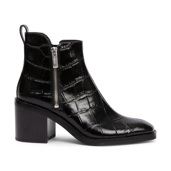 3.1 phillip lim alexa croc-embossed leather ankle boots in black