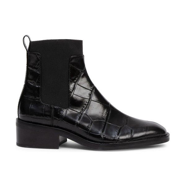 3.1 phillip lim alexa croc-embossed leather chelsea boots in black
