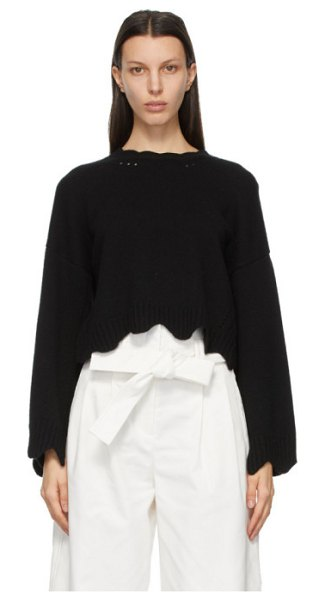 3.1 phillip lim black wool and cashmere scalloped sweater in ba001 black