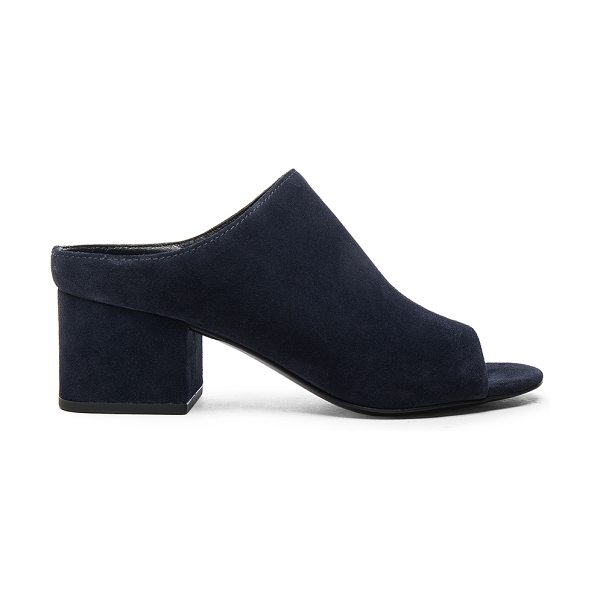 3.1 PHILLIP LIM Cube Suede Open Toe Mules - Suede upper with leather sole.  Made in China.  Approx...