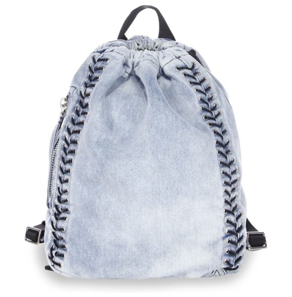 3.1 phillip lim go-go medium washed denim backpack in light denim - EXCLUSIVELY AT SAKS FIFTH AVENUE. Roomy washed backpack...