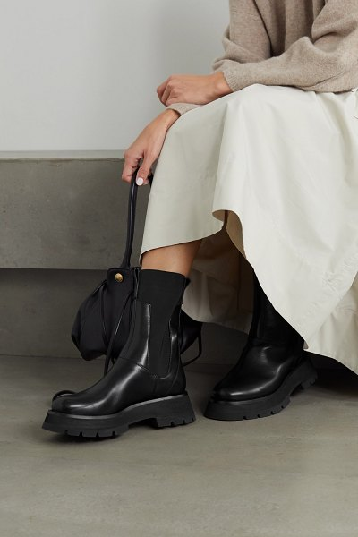 3.1 phillip lim kate leather chelsea combat boots in black