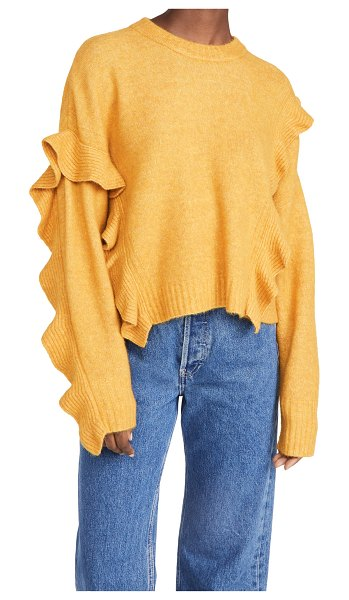 3.1 phillip lim long sleeve lofty cropped ruffle pullover in mustard