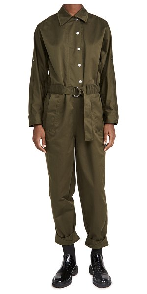 3.1 phillip lim long sleeve twill utility jumpsuit in olive