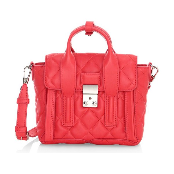 3.1 phillip lim mini pashli quilted leather satchel in coral,black