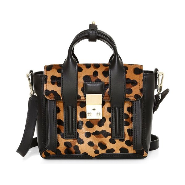 3.1 phillip lim mini pashli leopard-print calf hair leather satchel in leopard