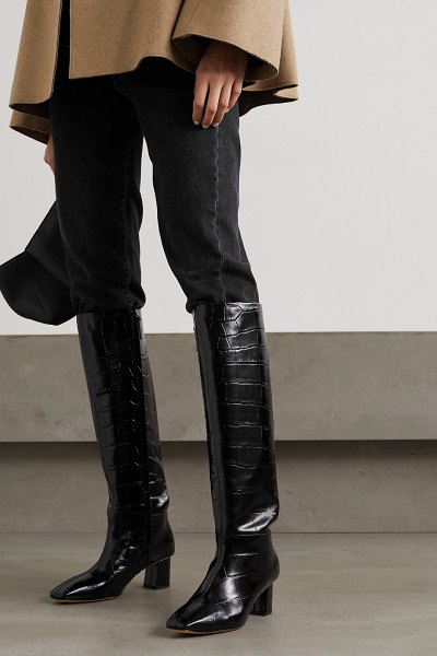 3.1 phillip lim tess croc-effect leather knee boots in black