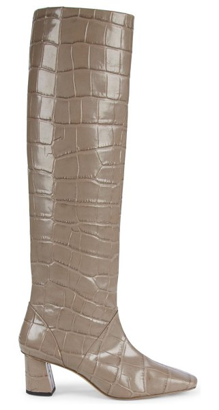 3.1 phillip lim tess square-toe tall croc-embossed leather boots in taupe