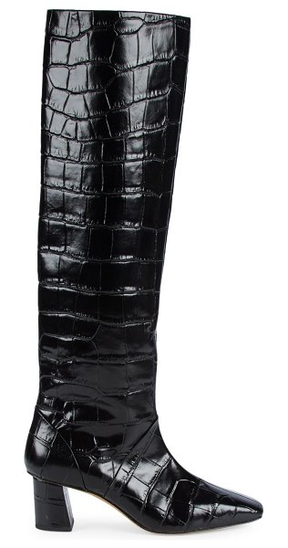 3.1 phillip lim tess square-toe tall croc-embossed leather boots in black