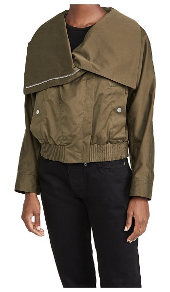 3.1 phillip lim twill jacket with exaggerated collar in olive