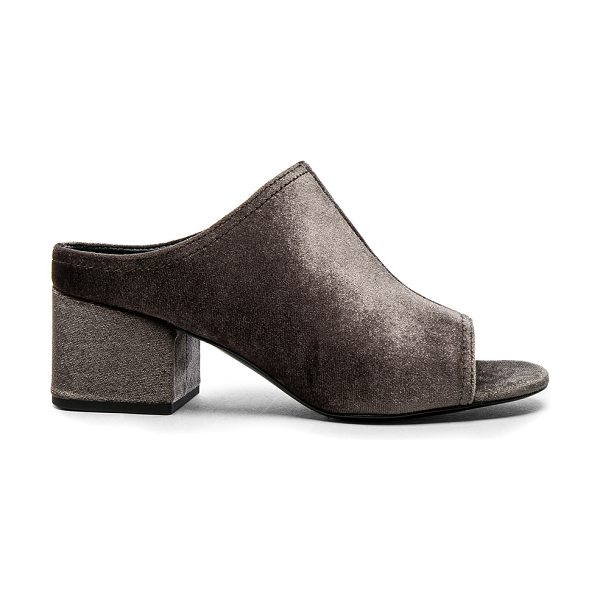 3.1 phillip lim Velvet Cube Open Toe Slip Ons in gray - Velvet upper with leather sole.  Made in China.  Approx...