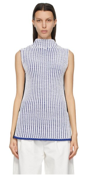 3.1 phillip lim white and blue sleeveless two-tone turtleneck in wh139 wt,bl