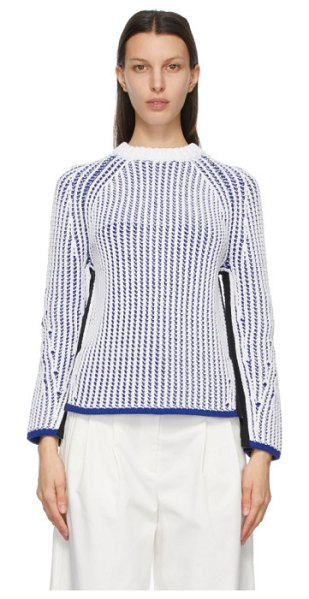 3.1 phillip lim white and blue two-tone sweater in wh139 wt,bl