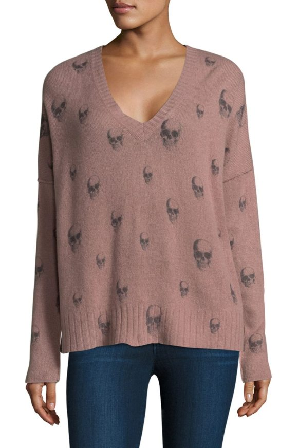 360Cashmere emmett skull cashmere sweater in rose charcoal - Luxe cashmere sweater with skull print.V-neck. Long...