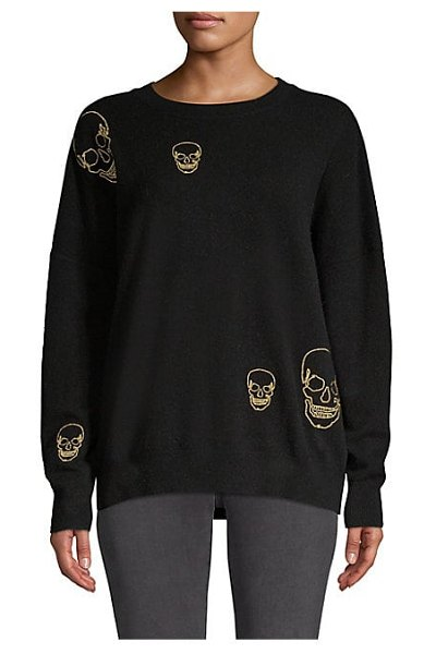 360Cashmere metallic skull cashmere sweater in black gold - Stitched metallic skulls add an edgy twist to this cozy...