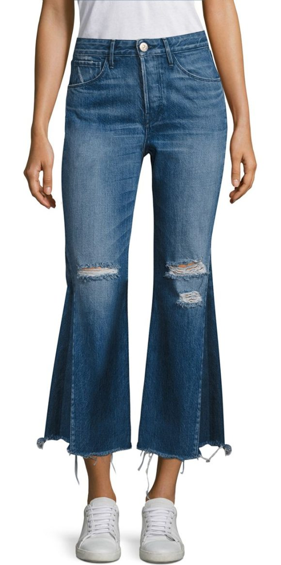 3X1 higher ground pieced cropped flared jeans - Pieced hem updates distressed, cropped flared jeans. Belt...