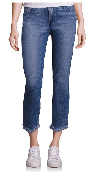 3x1 authentic mid-rise staight-leg cropped raw-hem jeans in ace