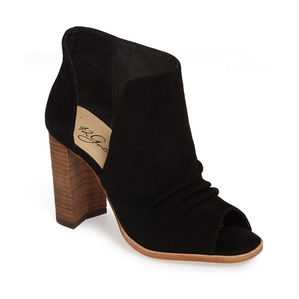 42 GOLD loyalty open toe bootie in black suede