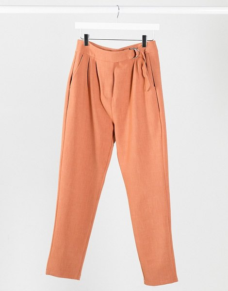 4th + Reckless suit pants with side buckle in soft coral-orange in orange